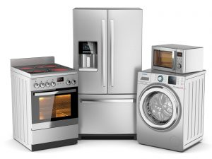 Home appliances. Group of silver refrigerator washing machine electric stove microwave oven isolated on white background 3d